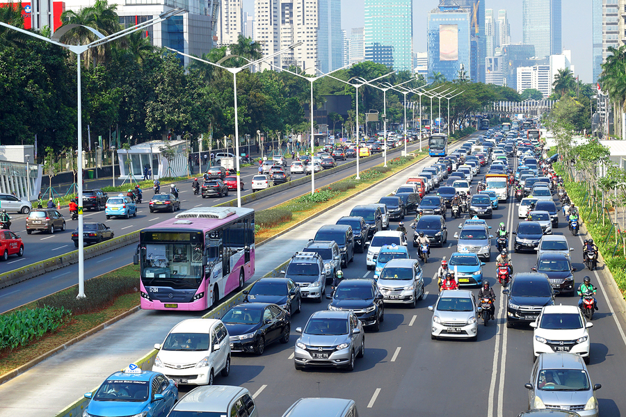 A busy road in the capital Jakarta