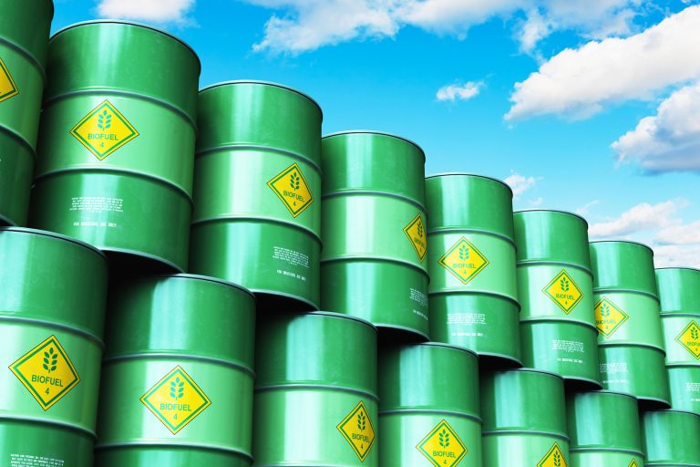 Barrels of biofuel stacked up