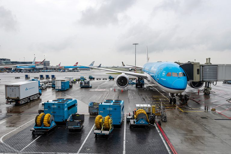 A KLM aircraft at Schiphol airport