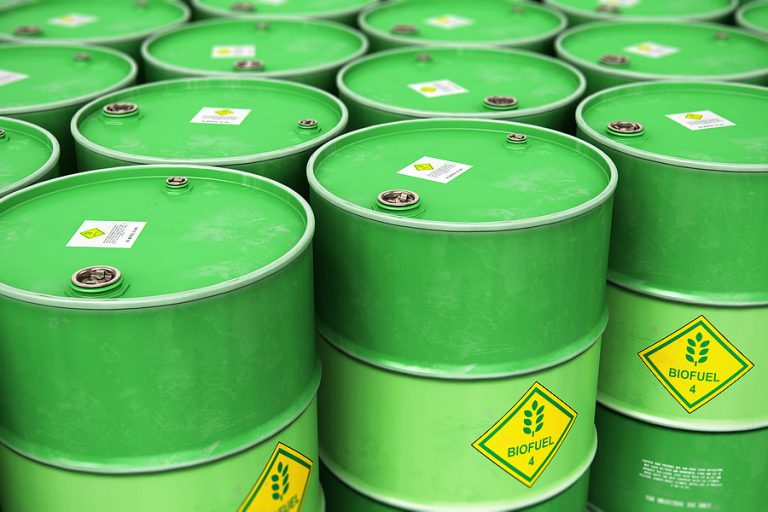 Green biofuel drums ready for export