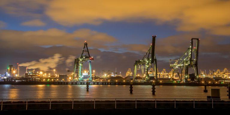 Rotterdam Port at dusk